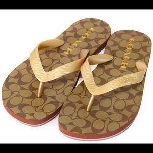 COACH Zak Flip Flop Signature Rubber Slippers